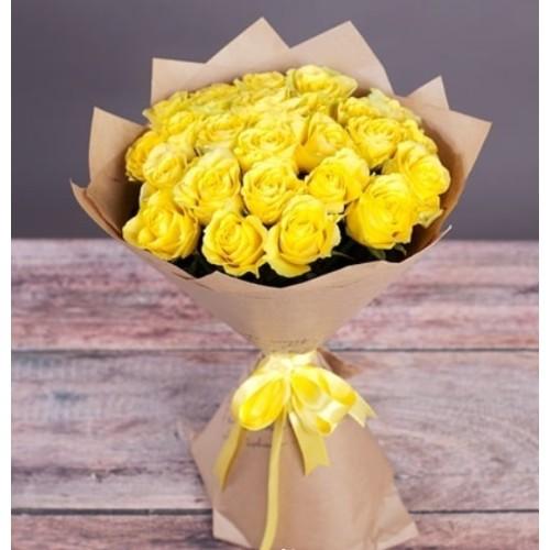 Купить на заказ Букет из желтых роз с доставкой в Петропавловске
