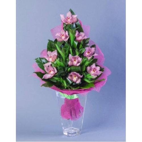 Купить на заказ Заказать Букет из 9 Орхидей с доставкой по Петропавловску  с доставкой в Петропавловске